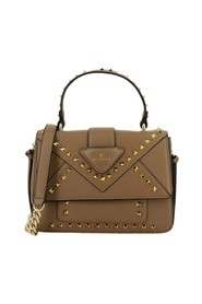 Faux leather bag with taupe studs