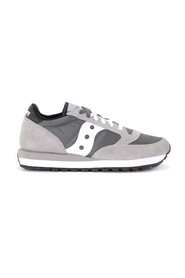 Suede and gray and white taupe fabric sneakers