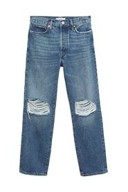 Decorative rips relaxed jeans