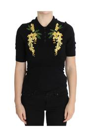 Silk Floral Embroidered Polo Top