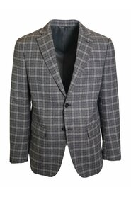 Single-breasted gray checked jacket