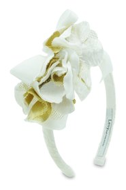 Girls White and Gold Floral Hairband