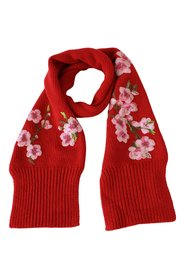 Floral Embroidered Wrap Cashmere Scarf