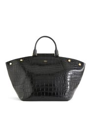 Shopper in crocodile print leather