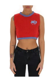 wool-cashmere blend logo embroidered cropped top