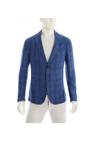Single-breasted checked linen jacket