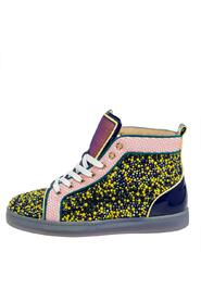 Mesh And Patent Leather Crystal Embellished High Top Sneakers