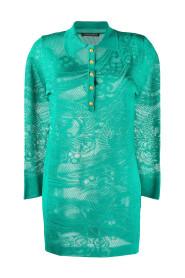 Oversized Long Sleeve Lace Knit Polo