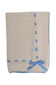 WOOL BLANKET WITH LIGHT BLUE HEMS AND RIBBON