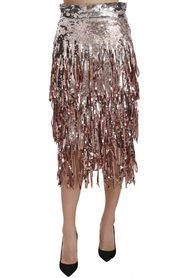 Paillet Embellished Fringe Midi Pencil Skirt