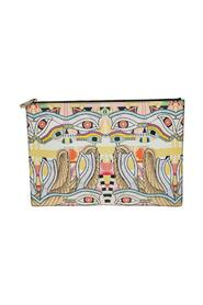Iconic Dragon Printed Patent Leather Clutch