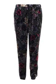 Velvet Detail Floral Trousers