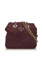 Quilted Suede Chain Shoulder Bag