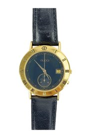 Gold Plated Chrono Stop Watch 3800 M Leather Strap