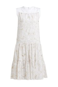 Hvit See By Chloé Tiered Floral Broderie-Anglaise Cotton midi dress