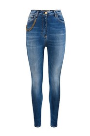 Slim chain jeans with faded side