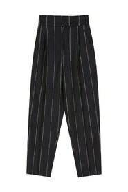 High waisted pinstripe trousers