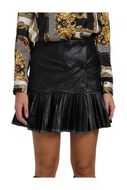 FAUX LEATHER SKIRT WITH PLISSÉ ON THE BOTTOM