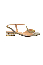 LOW LUREX SANDAL WITH PEARLS