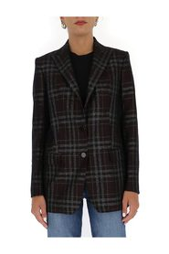 plaid-print single breasted blazer