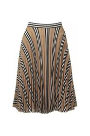 Logo and Stripe Print Crepe Pleated Skirt