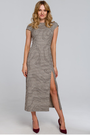 Sukienka Midi Z Półrękawkami