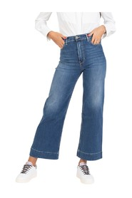 Medium denim wide leg jeans