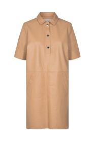 Ester læder kjole - læder kjole - ristet kokosnød