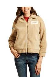 Sheepskin effect zipped bomber jacket