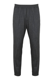 Elasticated-waist wool tapered trousers