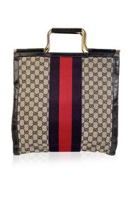 Monogram Shopping Bag Tote with Stripes