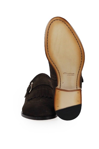 Brown LOAFER WITH FRINGE | Santoni | Loafers