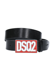 Logo-plaque leather belt