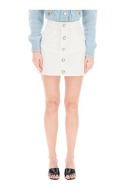 drill mini skirt with buttons