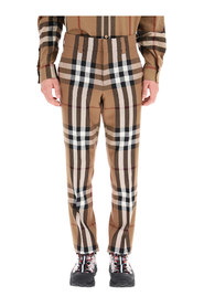 House check wool trousers