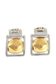 Silver Square Dangling Earrings W/Cc On Top & Gold Ball -Pre Owned Condition Very Good