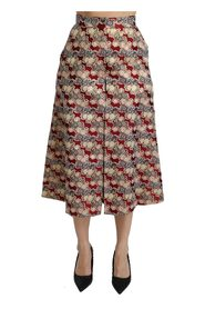 Brocade High Waist Pleated Midi Skirt