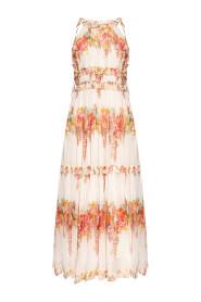 Silk dress with ruffles