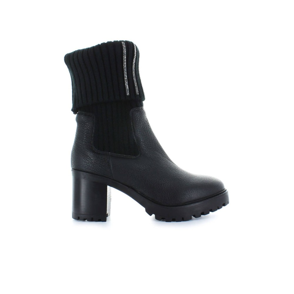 BLACK LEATHER SOCK BOOTS WHIT RHINESTONES