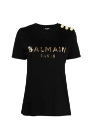 Schwarzes Baumwoll-T-Shirt mit goldenem Logo-Druck