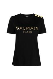 Svart bomulls-T-shirt med tryck med guldlogotyp