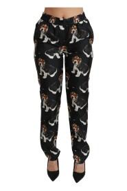 Puppy Dog Mid Waist Skinny Silk Pants