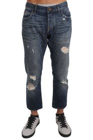 Cotton Ripped Jeans Cropped Pants