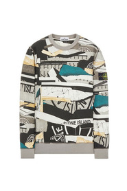63087 Brushed Fleece. Washed_ 'MIXED MEDIA' All-Over Print