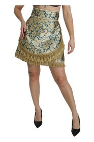 Baroque Jacquard High Waist Mini Skirt