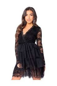 Lace Panel Multi Tier Mesh Mini Dress