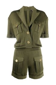 PEAK LAPEL KNIT PLAYSUIT