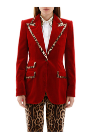 Velvet blazer with animalier hems