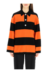 striped sweater with jewel buttons