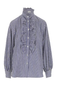 Shirt Striped pattern Model with ruffles detail on the front and on the collar